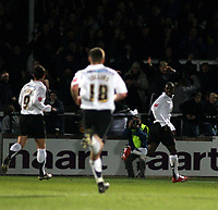 Photo: Mark Stephenson/Sportsbeat Images.<br /> Hereford United v Hartlepool United. The FA Cup. 01/12/2007.Hereford's Theo Robinson (R) celebrates his goal for 2-0