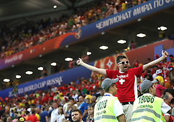 ROSTOV-ON-DON, June 17, 2018  A fan of Switzerland reacts after a group E match between Brazil and Switzerland at the 2018 FIFA World Cup in Rostov-on-Don, Russia, June 17, 2018. The match ended in a 1-1 draw. (Credit Image: © Li Ming/Xinhua via ZUMA Wire)