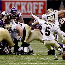 September 9, 2010; New Orleans, LA, USA;  New Orleans Saints place kicker Garrett Hartley (5) attempts a field goal during the NFL Kickoff season opener at the Louisiana Superdome. The New Orleans Saints defeated the Minnesota Vikings 14-9.  Mandatory Credit: Derick E. Hingle