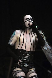 Marilyn Manson peforms on the mainstage at Gig on the Green 2001 on Saturday 25th August 2001, at <br /> Glasgow Green, Glasgow, Scotland.