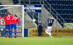 Falkirk's Rory Loy misses a penalty during the first half of extra time.<br /> Half time : Falkirk 0 v 0 Cowdenbeath, second round League Cup tie played at The Falkirk Stadium.