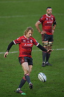 Rugby Union - 2020 / 2021 Gallagher Premiership - Gloucester vs Northampton Saints - Kingsholm<br /> <br /> Gloucester's Billy Twelvetrees kicks a penalty.<br /> <br /> COLORSPORT/ASHLEY WESTERN