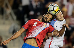 September 1, 2017 - Harrison, NJ, USA - Harrison, N.J. - Friday September 01, 2017:   Celso Borges, Paul Arriola during a 2017 FIFA World Cup Qualifying (WCQ) round match between the men's national teams of the United States (USA) and Costa Rica (CRC) at Red Bull Arena. (Credit Image: © John Dorton/ISIPhotos via ZUMA Wire)