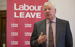 © Licensed to London News Pictures. 20/01/2016. London, UK. Graham Stringer MP helps to launch the Labour Party's 'Labour Leave' EU referendum campaign.  A referendum on the United Kingdom's membership of the European Union may be held as soon as this summer.  Photo credit: Peter Macdiarmid/LNP