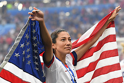 July 7, 2019 - Lyon, France - Christen Press (Utah Royals FC) of United States celebrates after winning the the 2019 FIFA Women's World Cup France Final match between The United State of America and The Netherlands at Stade de Lyon on July 7, 2019 in Lyon, France. (Credit Image: © Jose Breton/NurPhoto via ZUMA Press)
