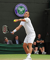 Tennis - 2019 Wimbledon Championships - Week One, Saturday (Day Six)<br /> <br /> Mens Singles, 3rd Round <br /> Joao Sousa (POR) v Dan Evans (GBR) <br /> <br /> <br /> Dan Evans  on Court 1<br /> <br /> COLORSPORT/ANDREW COWIE