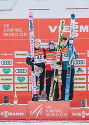 16.02.2020, Kulm, Bad Mitterndorf, AUT, FIS Ski Flug Weltcup, Kulm, Herren, im Bild v.l. Ryoyu Kobayashi (JPN, 2. Platz), Stefan Kraft (AUT, 1. Platz), Timi Zajc (SLO, 3. Platz) // v.l.: Ryoyu Kobayashi (JPN 2nd place) Stefan Kraft (AUT 1st place) Timi Zajc (SLO 3rd place) during the men's FIS Ski Flying World Cup at the Kulm in Bad Mitterndorf, Austria on 2020/02/16. EXPA Pictures © 2020, PhotoCredit: EXPA/ JFK