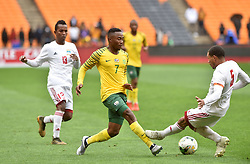 South Africa: Johannesburg: Bafana Bafana player Lebohang Kgosana Maboe battle for the ball with Seychelles player Jones Joubert during the Africa Cup Of Nations qualifiers at FNB stadium, Gauteng.<br />Picture: Itumeleng English/African News Agency (ANA)