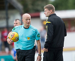 Ref Mat Northcroft with Brechin City manager Darren Dods. Brechin City 0 v 4 Inverness Caledonian Thistle, Scottish Championship game played 26/8/2017 at Brechin City's home ground Glebe Park.