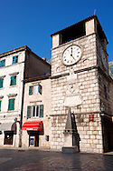Town square clock, Kotor, Montenegro .<br /> <br /> Visit our MONTENEGRO HISTORIC PLAXES PHOTO COLLECTIONS for more   photos  to download or buy as prints https://funkystock.photoshelter.com/gallery-collection/Pictures-Images-of-Montenegro-Photos-of-Montenegros-Historic-Landmark-Sites/C0000AG8SdQ.sYLU