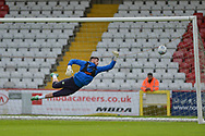 Forest Green Rovers Goalkeeper Harry Pickering(24) warming up during the EFL Sky Bet League 2 match between Stevenage and Forest Green Rovers at the Lamex Stadium, Stevenage, England on 21 October 2017. Photo by Adam Rivers.