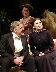 Major Barbara<br /> by Bernard Shaw<br /> at the Olivier Theatre, Southbank, London, Great Britain<br /> press photocall<br /> 3rd March 2008 <br /> Hayley Atwell (as Barbara Undershaft)<br /> Simon Russell Beale (as Andrew Undershaft)<br /> Clare Higgins (as Lady Britomart Undershaft)<br /> <br /> <br /> Photograph by Elliott Franks
