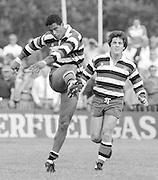 Bath, West Somerset. Great Britain.  <br /> Left, Jeremy GUSCOTT and Stuart BARNES.<br /> Bath Rugby vs Harlequins, The Recreation Ground [Rec]. 10.09.1988.<br /> <br /> [Mandatory Credit, Peter Spurrier/ Intersport Images].