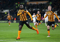 Hull City's Nouha Dicko celebrates scoring his side's first goal of the game