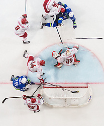 Rok Ticar of Slovenia faulted by Yevgeni Lisovets of Belarus during the 2017 IIHF Men's World Championship group B Ice hockey match between National Teams of Slovenia and Belarus, on May 13, 2017 in AccorHotels Arena in Paris, France. Photo by Vid Ponikvar / Sportida