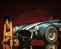 This acryl on canvas piece showcases two powerful images, perhaps in a state of contest. On one hand, we have a 1965 Ford Cobra AC Shelby. This is one of the most popular and iconic classic cars of all time. This is a car that means power. This is a car that can prove to be essential in moments of great, intense danger. On the other hand, we have a nude woman. Fully crouched, she is casting an angry, wary eye on the Cobra. It almost seems as though they are about to race. Available as t-shirts, wall art, or as interior home décor products. .<br />