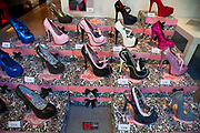 Shop window in Monastiraki selling high heels. This shoe shop 'Bordello' sells many styles but seems to specialise in block high heeled footwear and stiletto heels. Athens is the capital and largest city of Greece. It dominates the Attica periphery and is one of the world's oldest cities, as its recorded history spans around 3,400 years. Classical Athens was a powerful city-state. A centre for the arts, learning and philosophy.