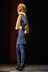 Halima Aden wears a burkini while competing in the preliminary bathing suit round of the Miss Minnesota USA pageant on Nov. 26, 2016 in Burnsville, MN, USA. Photo by Leila Navidi/Minneapolis Star Tribune/TNS/ABACAPRESS.COM