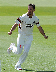 Somerset's Lewis Gregory celebrates the wicket of Middlesex's Sam Robson. - Photo mandatory by-line: Harry Trump/JMP - Mobile: 07966 386802 - 27/04/15 - SPORT - CRICKET - LVCC Division One - County Championship - Somerset v Middlesex - Day 2 - The County Ground, Taunton, England.