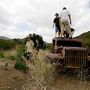 LOS ANGELES, CA, October 2, 2007: A couple of old Army jeeps are all that's left from the filming of the television show MASH that was done in the Santa Monica Mountains. Many people, including Boy Scout troops, hike the 1.5 miles to the old set via Malibu Creek State Park. (Photo by Todd Bigelow/Aurora)