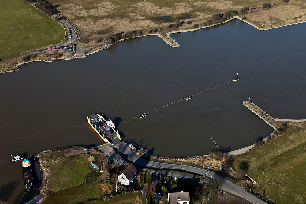 Nederland, Utrecht, Amerongen,  07-03-2010 ; pontje over de Lek.luchtfoto (toeslag), aerial photo (additional fee required).foto/photo Siebe Swart