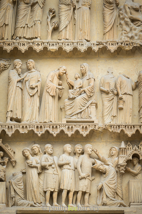 Relief sculptures on Cathedral of Notre-Dame, Reims, France
