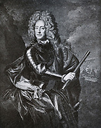 John Churchill, First Duke of  Marlborough (1650-1722) whose career spanned the reigns of five monarchs.  Rising from a lowly page at the court of the House of Stewart, he loyally served James, Duke of York, earning military and political advancement through his courage and military skills. Marlborough's insatiable ambition propelled him from poor obscurity in British and European affairs, to a wealthy man.  His family connections wove him into the fabric of European politics.