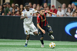 September 22, 2018 - Atlanta, GA, U.S. - ATLANTA, GA Ð SEPTEMBER 22:  Atlanta's Miguel Almiron (10) moves the ball up the field during the match between Atlanta United and Real Salt Lake on September 22nd, 2018 at Mercedes-Benz Stadium in Atlanta, GA.  Atlanta United FC defeated Real Salt Lake by a score of 2 to 0.  (Photo by Rich von Biberstein/Icon Sportswire) (Credit Image: © Rich Von Biberstein/Icon SMI via ZUMA Press)
