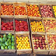 South America, Uruguay; Piriapolis, vegetables for sale.