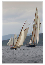 Ayrshire Lass 1887 Gaff Cutter and Mariette 1915 Gaff Schooner...The Round the Cumbraes race to open the regatta. Light variable breeze and grey skies shrouded the fleet with a strong spectator fleet...* The Fife Yachts are one of the world's most prestigious group of Classic .yachts and this will be the third private regatta following the success of the 98, .and 03 events.  .A pilgrimage to their birthplace of these historic yachts, the 'Stradivarius' of .sail, from Scotland's pre-eminent yacht designer and builder, William Fife III, .on the Clyde 20th -27th June.   . ..More information is available on the website: www.fiferegatta.com . .Press office contact: 01475 689100         Lynda Melvin or Paul Jeffes