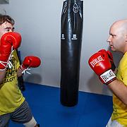 NLD/Amsterdam\/20131025 -Kickboxclinic van Sem Schilt, met Jaap Paulsen