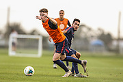 USA Mens National Team midfielder Christian Cappis dribbles the ball in an inner squad scrimmage during training camp, Friday, Jan. 10, 2020, in Bradenton, Fla. (Kim Hukari/Image of Sport)