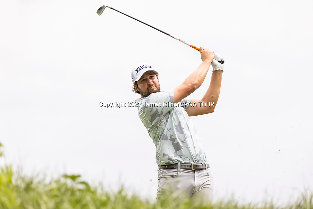 NEWBURGH, IN - SEPTEMBER 04: Peter Uihlein plays his shot from the 17th tee during the third round of the Korn Ferry Tour Championship presented by United Leasing and Financing at Victoria National Golf Club on September 4, 2021 in Newburgh, Indiana. (Photo by James Gilbert/PGA TOUR via Getty Images)