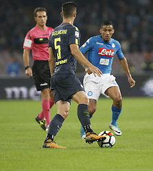 October 21, 2017 - Naples, Campania/Napoli, Italy - Italy- Naples October 21, 2017 A-Serie A football match at the San Paolo Stadium between Naples and Inter..That night they met the first two teams of high class Napoli who is in first place and Inter at second..Already the soccer experts speak of scudetto racing in Italy.Naples..Naples: Allan.Inter: Gagliardini (Credit Image: © Fabio Sasso/Pacific Press via ZUMA Wire)