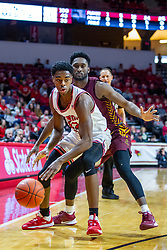 NORMAL, IL - January 19: Antonio Reeves defended by Keith Clemons during a college basketball game between the ISU Redbirds and the Loyola University Chicago Ramblers on January 19 2020 at Redbird Arena in Normal, IL. (Photo by Alan Look)