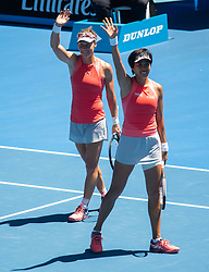 MELBOURNE, Jan. 21, 2019  Zhang Shuai of China (R) and Samantha Stosur of Australia celebrate after winning their women's doubles third round match against Alize Cornet of France and Petra Martic of Croatia at 2019 Australian Open in Melbourne, Australia, on Jan. 21, 2019. (Credit Image: © Elizabeth Xue Bai/Xinhua via ZUMA Wire)
