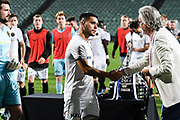 Team Wellington captain Justin Gulley recieves a second place medal their loss against Auckland City FC.<br /> Auckland City FC v Team Wellington, ISPS Handa Premiership Final, QBE Stadium, Auckland, New Zealand. 1 April 2018. © Copyright Image: Marc Shannon / www.photosport.nz.