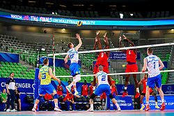 Jani Kovacic of Slovenia, Tine Urnaut of Slovenia, Alen Pajenk of Slovenia and Toncek Stern of Slovenia vs Livan Osoria Rodriguez of Cuba and Marlon Yang Herrera of Cuba during volleyball match between Cuba and Slovenia in Final of FIVB Volleyball Challenger Cup Men, on July 7, 2019 in Arena Stozice, Ljubljana, Slovenia. Photo by Matic Klansek Velej / Sportida