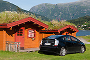 Camp at cabins with turf roof at campground in village of Ulvik, on Ulvikfjorden, an arm of Hardangerfjord, Norway.