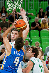Nemanja Gordic of BiH blocked by Uros Slokar of Slovenia at friendly match between Slovenia and Bosnia and Hercegovina for Adecco Cup 2011 as part of exhibition games before European Championship Lithuania on August 9, 2011, in SRC Stozice, Ljubljana, Slovenia. (Photo by Matic Klansek Velej / Sportida)