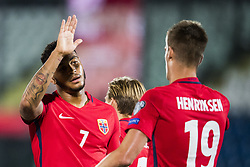 October 5, 2017 - San Marino, SAN MARINO - 171005 Joshua King and Markus Henriksen of Norway celebrate a goal during the FIFA World Cup Qualifier match between San Marino and Norway on October 5, 2017 in San Marino. .Photo: Fredrik Varfjell / BILDBYRN / kod FV / 150027 (Credit Image: © Fredrik Varfjell/Bildbyran via ZUMA Wire)