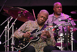 """© Licensed to London News Pictures. 15/05/2015.  Blues legend BB King performing at Glastonbury in 2011. The """"King of the Blues"""", guitarist and singer BB King, has died aged 89. Photo credit: Jason Bryant/LNP"""