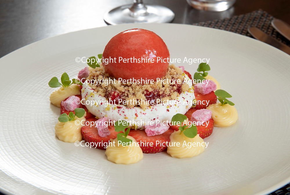 Daily Record Restaurant Review…14.06.18<br />Deans Restaurant, Kinnoull Street, Perth…Ice cream and French merangue sundae, summer berries and berry sauce<br />Picture by Graeme Hart.<br />Copyright Perthshire Picture Agency<br />Tel: 01738 623350  Mobile: 07990 594431