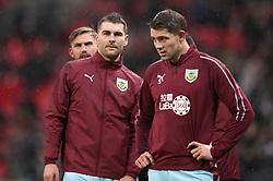 Burnley's Sam Vokes (left) and Burnley's James Tarkowski ahead of the Premier League match at Wembley Stadium, London.