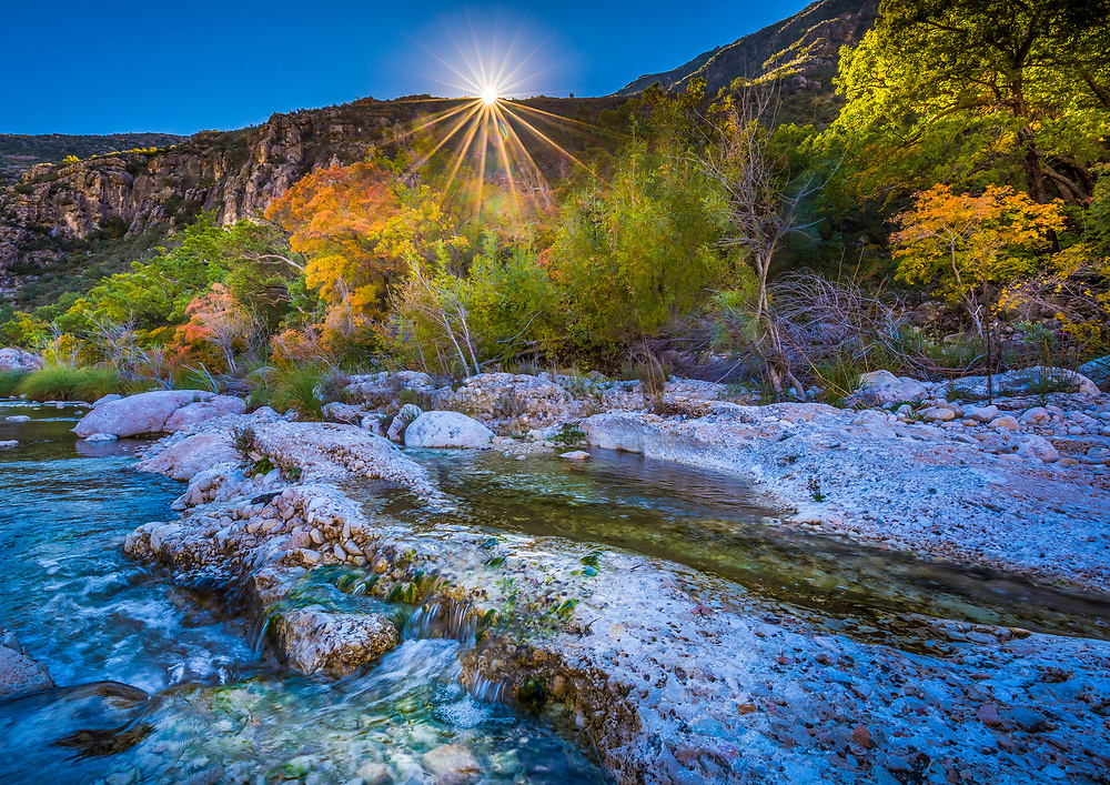 McKittrick Canyon is a scenic canyon within the Guadalupe Mountains of West Texas and Eddy County, New Mexico. The steep towering walls of McKittrick Canyon protect a rich riparian oasis in the midst of the Chihuahuan Desert.