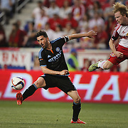 David Villa, (left), NYCFC, and Dax McCarty, New York Red Bulls, challenge for the ball during the New York Red Bulls Vs NYCFC, MLS regular season match at Red Bull Arena, Harrison, New Jersey. USA. 10th May 2015. Photo Tim Clayton