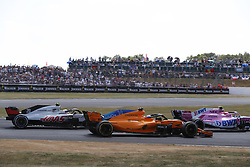 July 8, 2018 - Silverstone, Great Britain - Motorsports: FIA Formula One World Championship 2018, Grand Prix of Great Britain, ..#20 Kevin Magnussen (DEN, Haas F1 Team), #14 Fernando Alonso (ESP, McLaren F1 Team), #31 Esteban Ocon (FRA, Sahara Force India F1 Team) (Credit Image: © Hoch Zwei via ZUMA Wire)