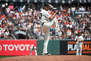 San Francisco Giants starting pitcher Madison Bumgarner (40) pitches against the Philadelphia Phillies at AT&T Park in San Francisco, California, on August 20, 2017. (Stan Olszewski/Special to S.F. Examiner)