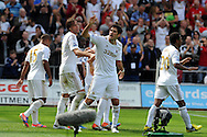 Swansea city's Danny Graham (c) celebrates after he scores his sides 3rd goal. . Barclays Premier league, Swansea city  v West Ham Utd at the Liberty Stadium in Swansea, South Wales  on Saturday 25th August 2012. pic by Andrew Orchard, Andrew Orchard sports photography,
