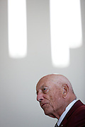"""Former Milpitas Mayor William """"Denny"""" Weisgerber talks about his friendship with Ben Gross during the Tribute Celebration for former Mayor Ben Gross at the Sandra Lee Senior Center in Milpitas, California, on February 23, 2013. (Stan Olszewski/SOSKIphoto)"""